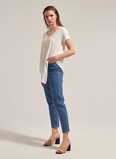 Monamoda Modal İplik Asimetrik T-Shirt Beyaz